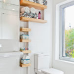Exposed bathroom shelves