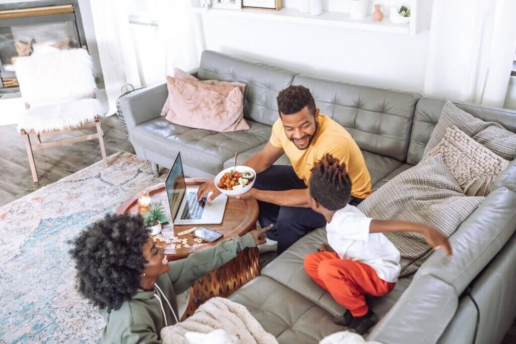 Family enjoying a comfortable home