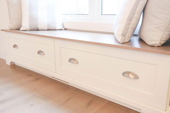Maximizing spaces with storage under a window bench, Waterloo Reno